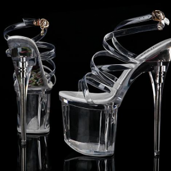 [มี2สี] รองเท้าส้นสูง ทรงหัวปลา เปิดส้น ดีไซน์ส้นแก้วคริสตัล แฟชั่นหนัง PU พื้นรองเท้าทำจากเรซิ่น
