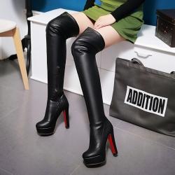 [มี2สี] รองเท้าบูทยาว ผู้หญิงสไตล์เกาหลี แฟชั่นหนังไมโครไฟเบอร์ ซิปด้านใน ส้นสูง 6 นิ้ว / บูทยาว 23 นิ้ว