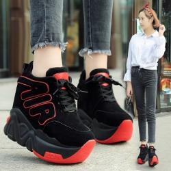 [มี2สี] รองเท้าผ้าใบเกาหลี มัฟฟินพื้นหนา ทรงหุ้มข้อ ผูกเชือกด้านหน้า พื้นหนา 2.5 นิ้ว / เสริมส้นสูงด้านใน 3 นิ้ว ทรงสวย แฟชั่นสไตล์เกาหลี