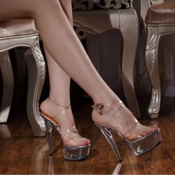 รองเท้าหัวปลา ส้นสูงใส่ออกงาน รองเท้าเจ้าสาว เปิดส้น ทรงสาน ส้นแก้วคริสตัล แพลตฟอร์มสูง 2 นิ้ว ส้นสูง 6 นิ้ว