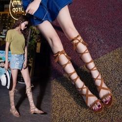 [มีหลายสี] รองเท้าแตะหัวปลา ส้นแบน ทรงสานพันรอบขา ซิปด้านหลัง วัสดุหนังไมโครไฟเบอร์ สวย เปรี้ยว แฟชั่นสไตล์ยุโรป