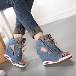 [มี2สี] รองเท้าผ้าใบสียีนส์ เสริมส้น ทรงหัวปลา หุ้มข้อ ซิปด้านข้าง ดีไซส์สวยเก๋ สไตล์เกาหลี