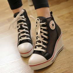 [มีหลายสี] รองเท้าผ้าใบเสริมส้น แฟชั่นหนัง pu ตาข่าย หุ้มข้อ ผูกเชือกด้านหน้า สวยสไตล์เกาหลี ส้นสูง 3 นิ้ว