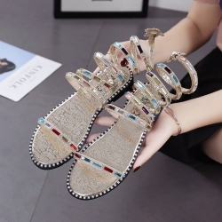 รองเท้าแตะส้นแบน หนังpu สีทอง แบบพันข้อลายงู สวย ประดับเพชรเม็ดใหญ่หลากสี สไตล์โรมัน