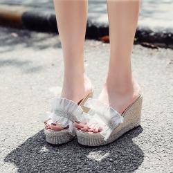 [มี2สี] รองเท้าหัวปลาผู้หญิงส้นเตารีด ส้นถักปอ ทรงสวม ประดับเพชร สูง 4 นิ้ว