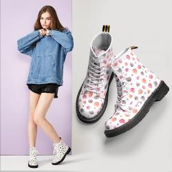 [มี2สี] รองเท้าบูทสั้นผู้หญิงมาร์ติน แฟชั่นหนังpu ลายหัวใจ สวยหวานน่ารัก สไตล์เกาหลี