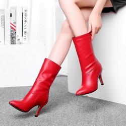 [มีหลายสี] รองเท้าบูทสั้น หัวแหลม ส้นสูง แฟชั่นหนัง PU สไตล์อังกฤษ ใส่ได้สองแบบตามรูปค่ะ ส้นสูง 3.5 นิ้ว