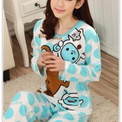ชุดนอนแขนยาวน่ารัก ลายหมีริลัคคุมะ สีฟ้า