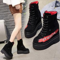[มี2สี] รองเท้าบูทสั้นผู้หญิงมาร์ติน เสริมส้น สีดำ ผูกเชือก ส้นสูง 5 นิ้วรวมด้านใน
