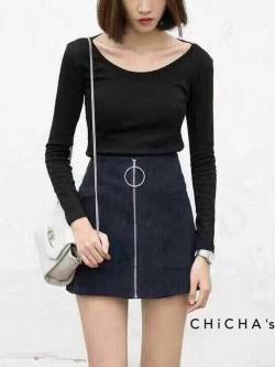 C165 Minimal Skirt Pant กางเกงกระโปรง มี2สี ดำ น้ำตาล คล้ายผ้าหนังกลับ แต่งซิปห่วง เก๋มากๆ