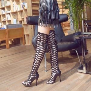 [มีหลายสี] รองเท้าส้นเข็ม หัวปลา แฟชั่นหนังตาข่ายทรงสาน สูงเหนือเข่า ผูกเชือก ซิปด้านหลัง ส้นสูง 4.5 นิ้ว (ไซส์ 33-43)
