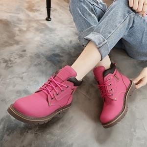 [มีหลายสี] รองเท้าบูทสั้นผู้หญิงมาร์ติน วัสดุหนังแท้ ผูกเชือก สวย เท่ แฟชั่นสไตล์อังกฤษย้อนยุค