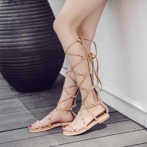 [มี2สี] รองเท้าแตะหัวปลา ส้นแบน วัสดุหนังแท้ ปักหมุด ทรงสานพันรอบขา ซิปด้านหลัง สวย แฟชั่นสไตล์ยุโรป