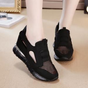 [มี2สี] รองเท้าหนัง pu เสริมส้น ทรงสปอร์ต ผ้าตาข่ายระบายอากาศด้านหน้า ใส่หน้าร้อนได้ สวยเก๋ สไตล์เกาหลี