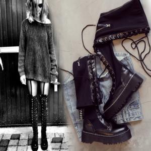 รองเท้าบูมยาวผู้หญิงมาร์ติน หนังไโครไฟเบอร์+ผ้ายืด ผูกเชือกด้านหน้า ซิปด้านใน ทรงสวย แฟชั่นสไตล์อังกฤษ