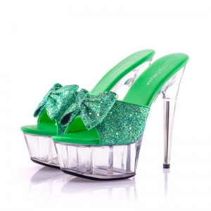 [มีหลายสี] รองเท้าส้นสูงใส่ออกงาน ส้นแก้วคริสตัลใส แบบสวม แต่งกลิตเตอร์ หน้าแต่งเป็นรูปโบว์ สวยหรู ส้นสูง 6 นิ้ว