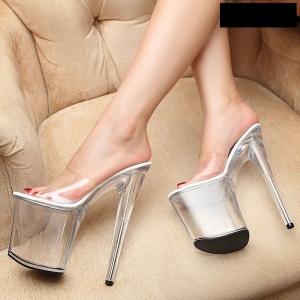 [มีหลายสี] รองเท้าหัวปลา ส้นสูง แบบสวม เซ็กซี่ใส่ออกงาน ส้นแก้วคริสตัล แพลตฟอร์มสูง 4 นิ้ว ส้นสูง 8 นิ้ว