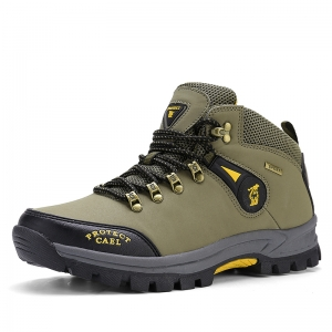 [มี2สี] รองเท้าแฟชั่นผู้ชายหุ้มข้อ รองเท้าเดินป่า ปีนเขา วัสดุหนังไมโครไฟเบอรื พื้นยางนุ่ม คุณภาพสูง