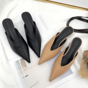 [มี2สี] รองเท้าคัทชูหัวแหลม แฟชั่นหนังส้นเตี้ย สวยเปรี้ยว ได้ลุคสไตล์ยุโรป