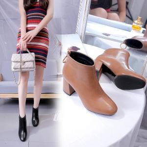 [มีหลายสี] รองเท้าบูทผู้หญิงส้นสูง ส้นใหญ่ ทำจากหนัง pu ซิปด้านหลัง สวย แฟชั่นสไตล์อังกฤษทรงย้อนยุค ส้นสูง 2.5 นิ้ว
