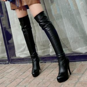 [มี2สี] รองเท้าบูทยาวผู้หญิง ส้นสูง แฟชั่นหนังpu สีพื้น ซิปด้านใน ทรงสวยสไตล์ยุโรป ส้นสูง 4.5 นิ้ว / แพลตฟอร์มสูง 1 นิ้ว