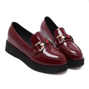 [มี2สี] รองเท้าบูทส้นตึก แฟชั่นหนัง pu สไตล์เกาหลี แต่งอะไหล่ด้านหน้า เสริมส้นเล็กน้อย (รุ่นไม่หุ้มข้อ)