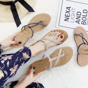 [มี2สี] รองเท้าแตะส้นแบน สวมนิ้วโป้ง งานหนัง pu แต่งเพชร สวย สไตล์โรมัน
