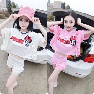 [มี2สี] ชุดเซต เสื้อยืด + กางเกงขาสั้น ลายการ์ตูนมิกกี้ มินนี่ สวย น่ารักใสๆ สไตล์เกาหลี