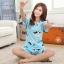 ชุดนอนน่ารักแขนสั้นลายวัว milk สีฟ้า thumbnail 1