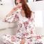 ชุดนอนเกาหลีขายาวลายดอกไม้ set 1 สีชมพู thumbnail 1