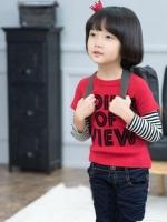 *ส่งฟรี* เสื้อผ้าเด็กนำเข้า เสื้อยืดแขนต่อลายขวาง Hotpet สีแดง สกรีน POINT OF VIEW ไซส์ 90, 100, 110, 120, 130