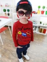 *ส่งฟรี* เสื้อผ้าเด็กนำเข้า เสื้อยืดแขนยาวผ้าหนา (ด้านในเป็นผ้าขนสัตว์แบบบาง) สีแดง สกรีนลายรถ ไซส์ 90, 100, 110, 120, 130