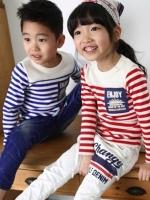 *ส่งฟรี* เสื้อผ้าเด็กนำเข้า ขายส่งยกแพ็คพร้อมส่ง เสื้อยืดแขนยาว ลายขวางสีแดง ปักแปะ Apple Smile ไซส์ 90, 100, 110, 120, 130