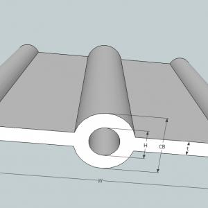 A10a PVC Waterstop 10 นิ้ว 3 ปุ่ม หนา 5 มม.(25 เมตร)
