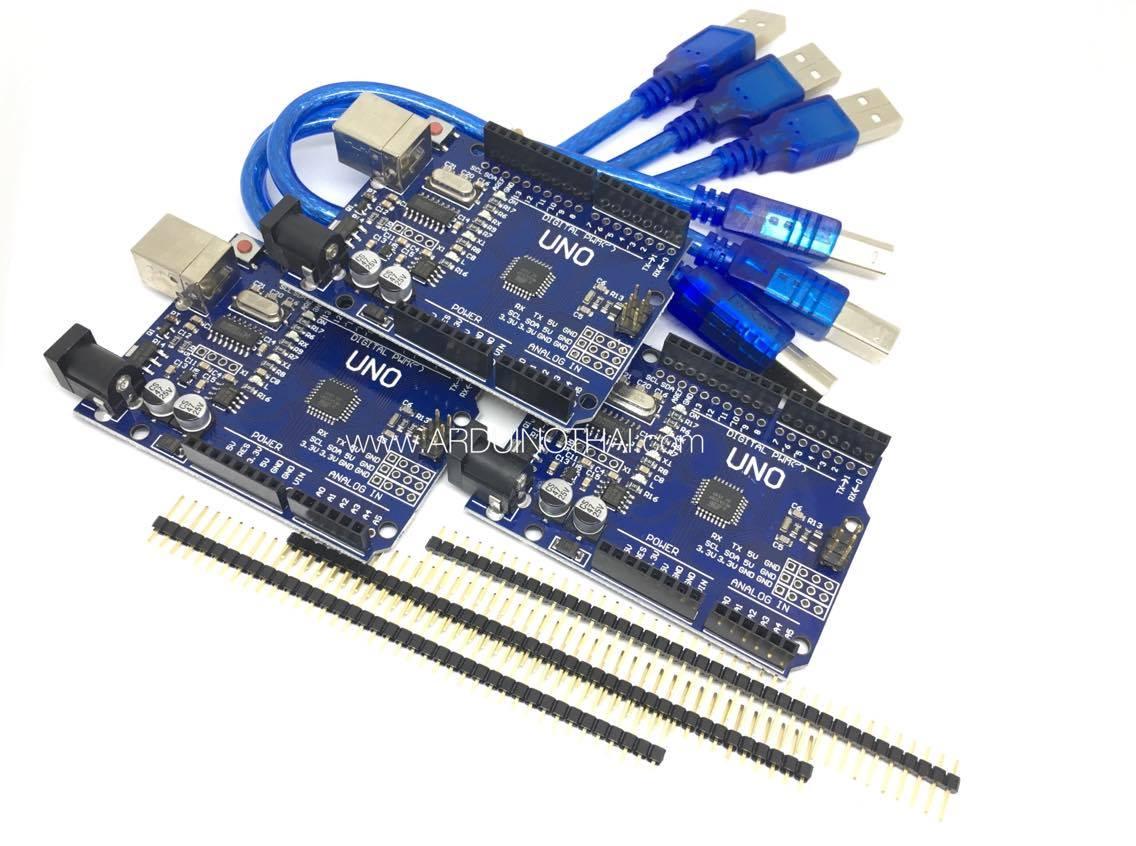 Arduino UNO R3 (SMD) จำนวน 3 ชุด (แถมสาย USB)
