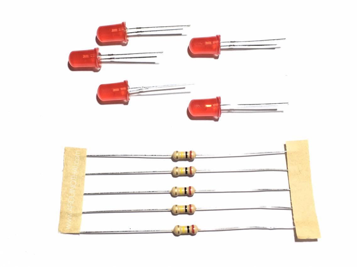 LED ขนาด 5mm สีแดง พร้อมตัวต้านทานจำนวน 5 ชุด