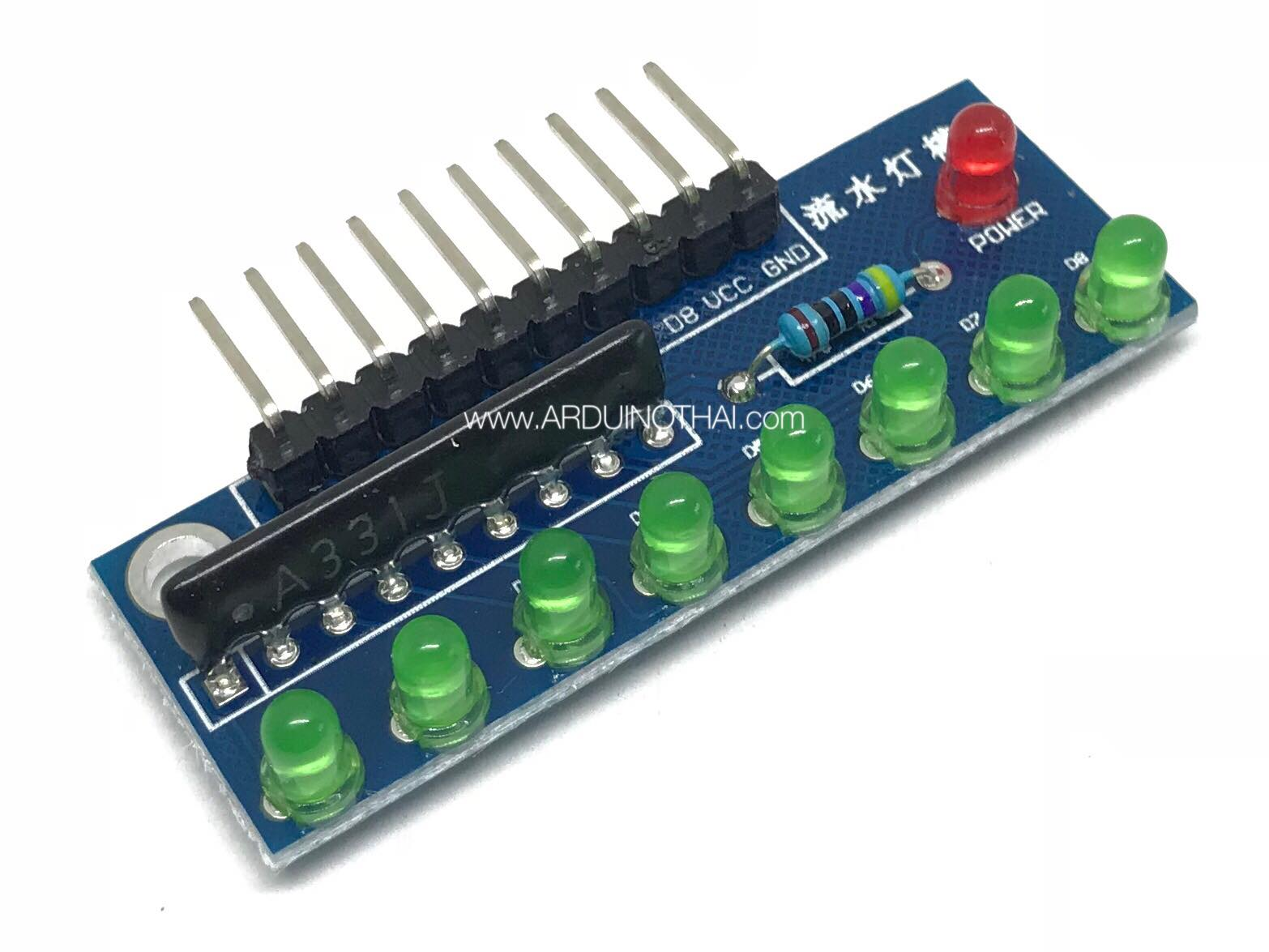1x8 LED 3mm Module (สีเขียว)