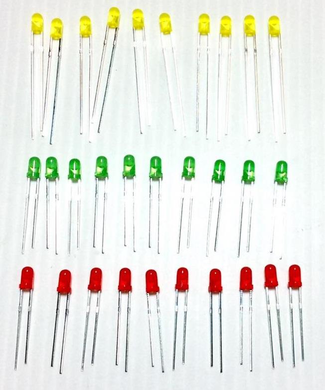 3mm LED Pack (เขียว,เหลือง,แดง)