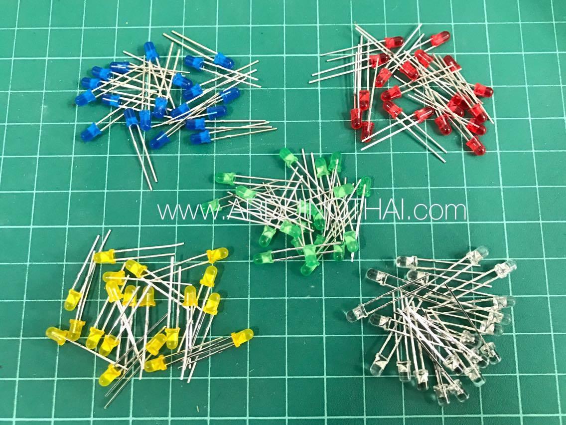 3mm LED Pack จำนวน100ดวง 5สี สีละ20ดวง